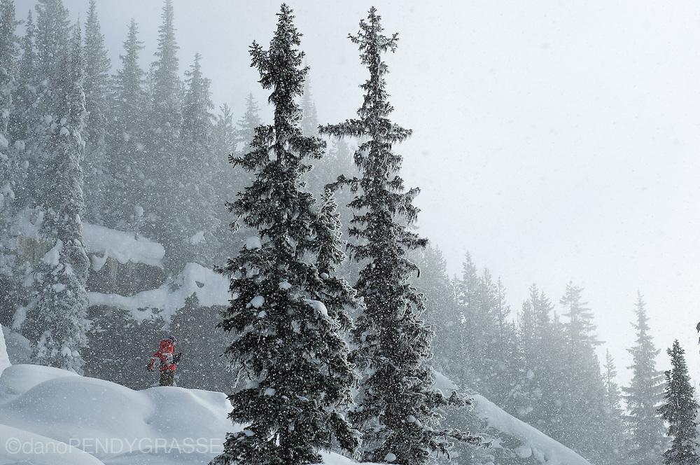 A lone snowboarder contemplates the terrain at Revelstoke Mountain Resort, a new ski resort in Revelstoke, British Columbia, Canada.