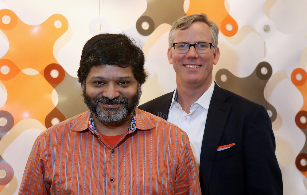 (Cambridge, MA - 5/19/15) Dharmesh Shah, left, and Brian Halligan, co-founders of HubSpot, are seen in the company's offices, Tuesday, May 19, 2015. Staff photo by Angela Rowlings.