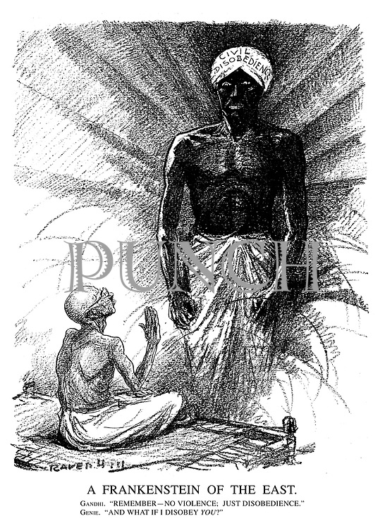 """A Frankenstein of the East. Gandhi. """"Remember - No violence; just disobedience."""" Genie. """"And what if I disobey YOU?"""" (a monster wears a turban of Civil Disobedience)"""