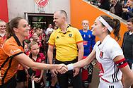 Eindhoven - Oranje Rood - Amsterdam  Dames, 1e ronde Playoffs, Eerste wedstrijd, Hoofdklasse Hockey Dames, Seizoen 2017-2018, 29-04-2018, Oranje Rood - Amsterdam 0-3,  Daphne van der Velden (Oranje-Rood) en Eva de Goede (A&rsquo;dam)<br /> <br /> (c) Willem Vernes Fotografie