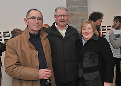 Pictured at the opening of Bryan Duffy's exhibition  'Follow the Yellow Brick Road' at the Custom House Studios were Gerry Duffy with Joe and Bernie Lyons. The exhibition continues at the gallery until the 21st of February. Pic Conor McKeown