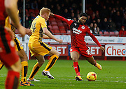 Ross Jenkins of Crawley Town lets fly during the Sky Bet League 2 match between Crawley Town and Cambridge United at the Checkatrade.com Stadium, Crawley, England on 9 January 2016. Photo by Andy Walter.