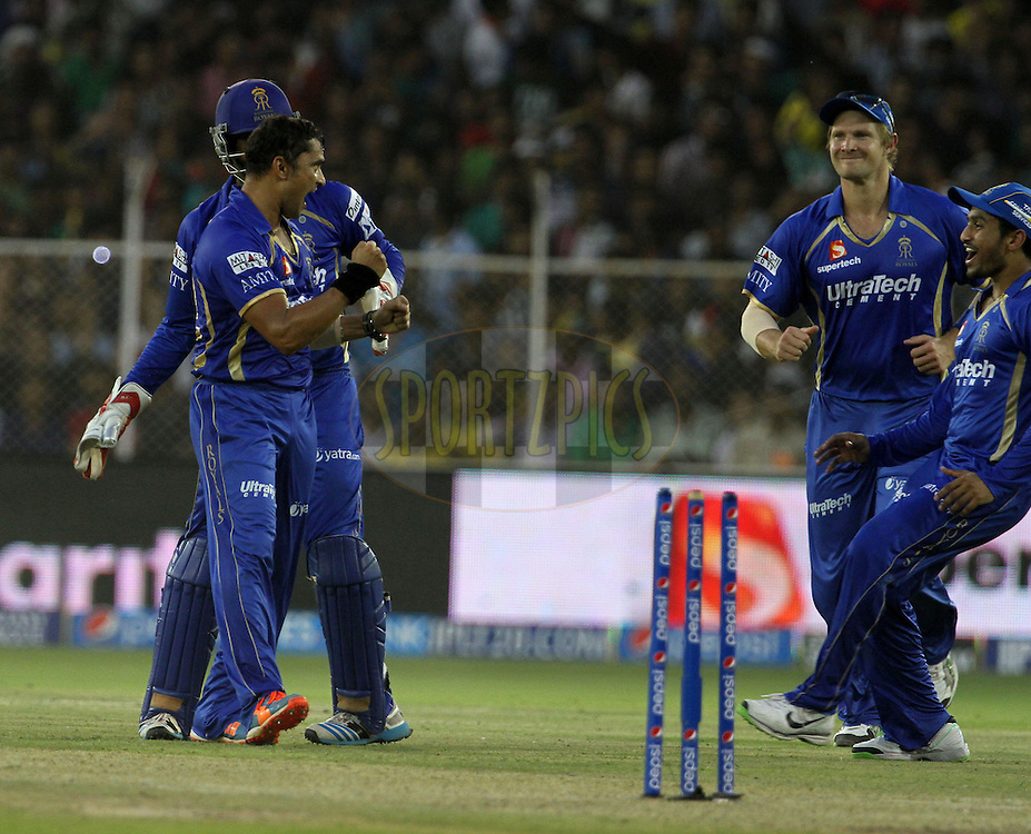 Pravin Tambe of the Rajasthan Royals celebrates with his teammates after taking the wicket of Manish Pandey of the Kolkata Knight Riders during match 25 of the Pepsi Indian Premier League Season 2014 between the Rajasthan Royals and the Kolkata Knight Riders held at the Sardar Patel Stadium, Ahmedabad, India on the 5th May  2014<br /> <br /> Photo by Vipin Pawar / IPL / SPORTZPICS      <br /> <br /> <br /> <br /> Image use subject to terms and conditions which can be found here:  http://sportzpics.photoshelter.com/gallery/Pepsi-IPL-Image-terms-and-conditions/G00004VW1IVJ.gB0/C0000TScjhBM6ikg