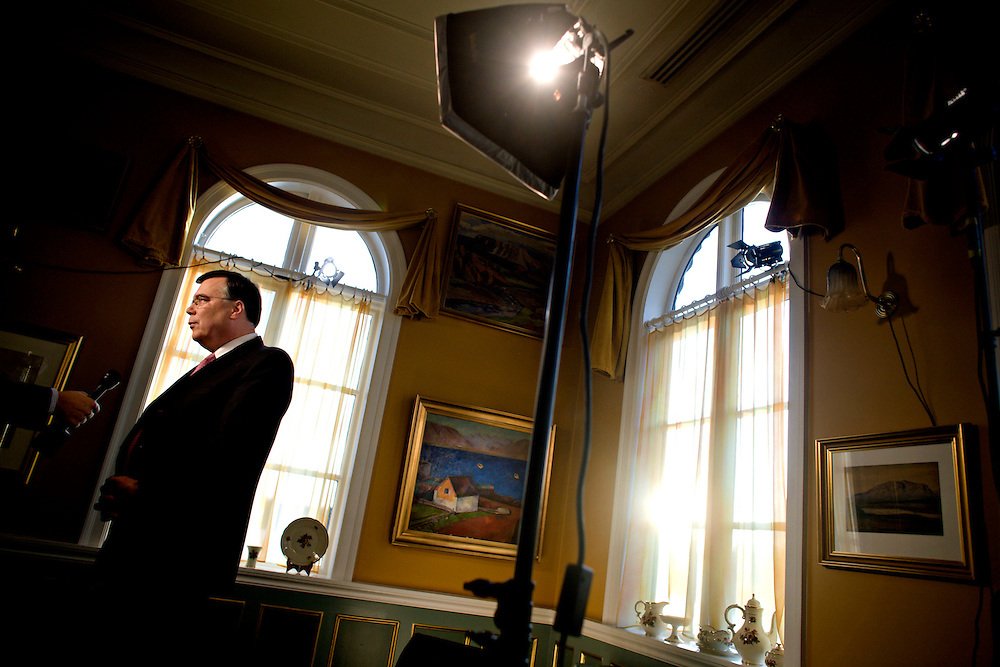 Iceland Crisis, October 10, 2008..Icelandic Prime Minister Geir H. Haarde giving an interview.
