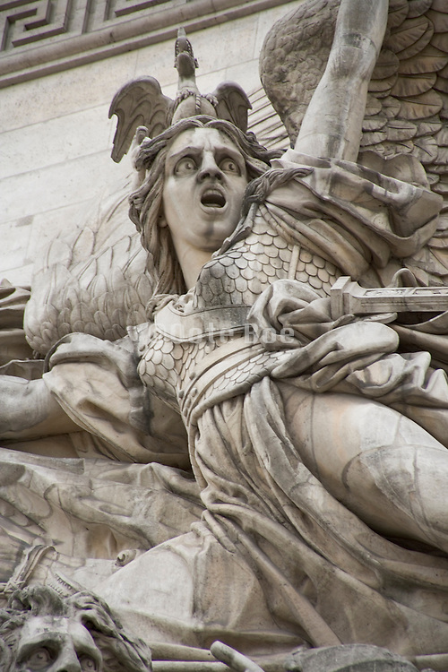 Arc de Triomphe Paris close up of a female soldier in the Departure of the Volunteers in 1792 High Relief