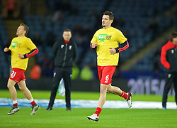 LEICESTER, ENGLAND - Monday, February 1, 2016: Liverpool's Dejan Lovren warms-up wearing Kick It Out t-shirts before the Premier League match against Leicester City at Filbert Way. (Pic by David Rawcliffe/Propaganda)