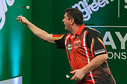Mensur Suljovic during the PDC Darts Players Championship at  at Butlins Minehead, Minehead, United Kingdom on 24 November 2017. Photo by Shane Healey.