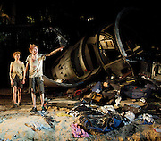 Lord of the Flies<br /> by William Golding <br /> adapted for stage by Nigel Williams<br /> at Regent's Park, Open Air Theatre, London, Great Britain <br /> press photocall<br /> 20th May 2011<br /> <br /> James McConville (as Sam)<br /> Stuart Matthews (as Eric)<br /> <br /> Photograph by Elliott Franks