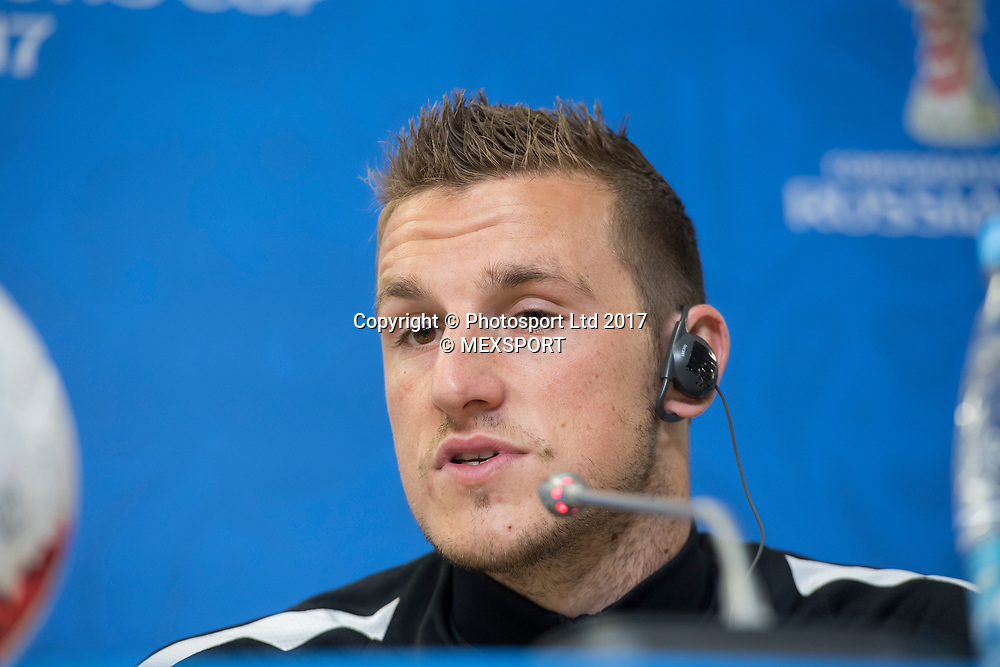 All Whites captain Chris Wood during the Press Conference of the Selection of New Zealand before their match against the Selection of Portugal, Correspondent to Group A of the FIFA Confederations Cup Russia 2017, in the Stadium Krestovski (Zenit) San Petesbrgo in St. Petersburg.<br /> 23 June 2017.<br /> Copyright photo: MEXSPORT / Jorge Martinez / www.photosport.nz