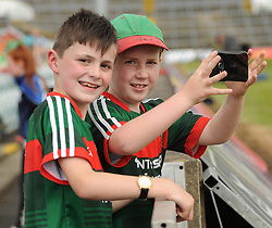 Sideline view Mayo supporters and cousins Tom and Jack Comer from Claremorris at the Gaelic grounds.<br /> Pic Conor McKeown