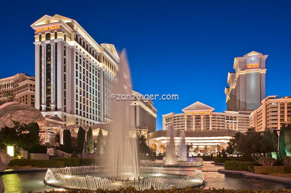 Caesars Palace, Las Vegas, Fountain, Pool, Resort, lit at night, Casinos; Hotels; Nevada; Resort properties; Strip; gambling; shopping, Dramatic Breathtaking Photo