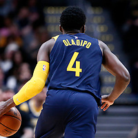 03 April 2018: Indiana Pacers guard Victor Oladipo (4) drives during the Denver Nuggets 107-104 victory over the Indiana Pacers, at the Pepsi Center, Denver, Colorado, USA.