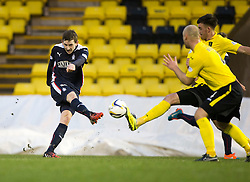 Falkirk's Blair Alston has a shot.<br /> Half time : Livingston 0 v 1 Falkirk, Scottish Championship played13/12/2014 at The Energy Assets Arena.