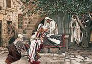 Christ raising the daughter of Jairus, Governor of the Synagogue, from the dead. Bible: Mark V. Illustration by JJ Tissot for his 'Life of our Saviour Jesus Christ' 1897