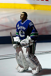 June 15, 2011; Vancouver, BC, CANADA; Vancouver Canucks goalie Roberto Luongo (1) during pre-game introductions before game seven of the 2011 Stanley Cup Finals against the Boston Bruins at Rogers Arena. Boston defeated Vancouver 4-0. Mandatory Credit: Jason O. Watson / US PRESSWIRE