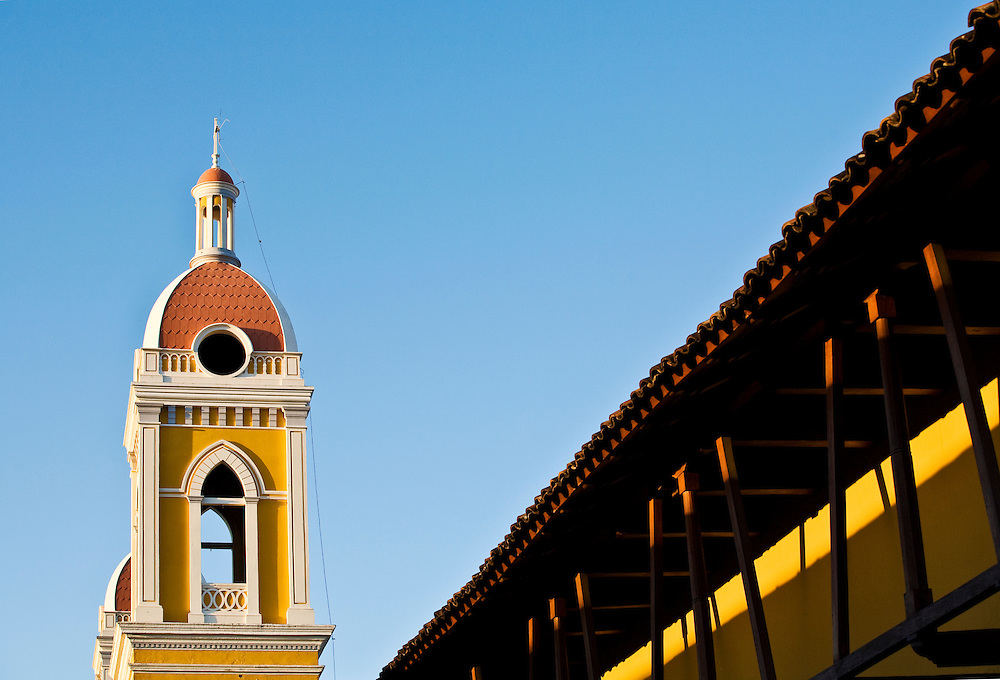 A view of the towers of the Cathedral of Granada. Grenada is located on the shores of Lake Nicaragua. It is a classic Spanish colonial city that is more than 350 years old and was once burned down by the North American filibuster William Walker.