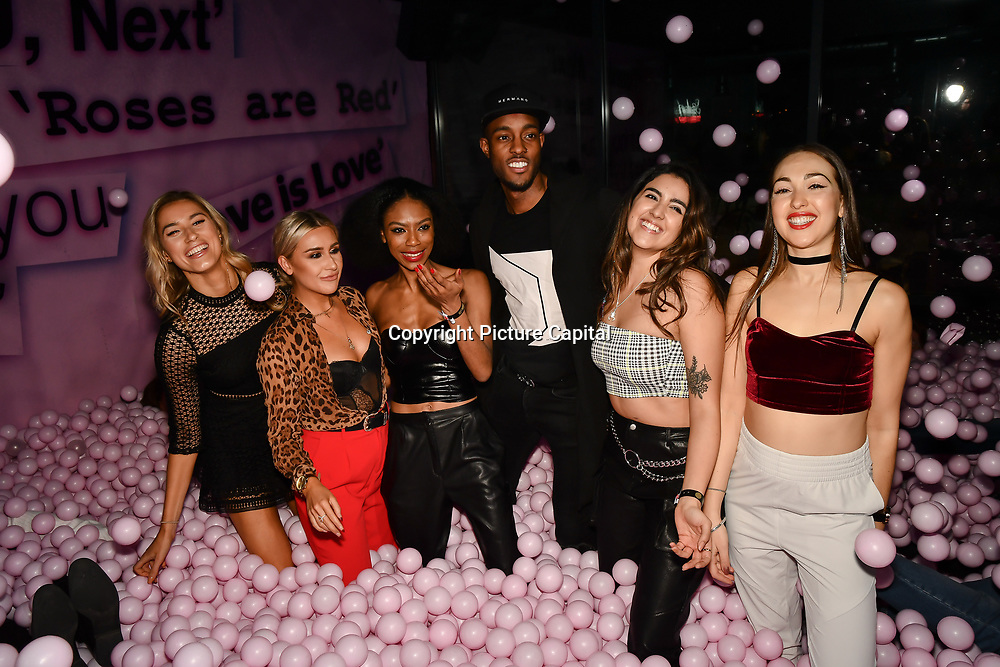 Lilly Douse, Frankie Maddin, Tonique Campbell, Stefan Pierre, Claudia Sowaha and Chloe Adlerstein attend Bachelor girls wrap party after Channel 5 serial of The Bachelor girls 2019 UK  17 desperate female complete to win Alex Marks. Five Eliminated girls continues enjoy the single life party at Balle Ballerson in fact, in the UK there are 1.1 millions female more than male on 27 March 2019, London, UK.
