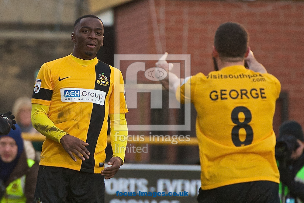 Micah Evans of Southport (left) celebrates after scoring their second goal to make it Southport 2 Eastleigh 1 during the The FA Cup match at Haig Avenue, Southport<br /> Picture by Ian Wadkins/Focus Images Ltd +44 7877 568959<br /> 07/12/2014