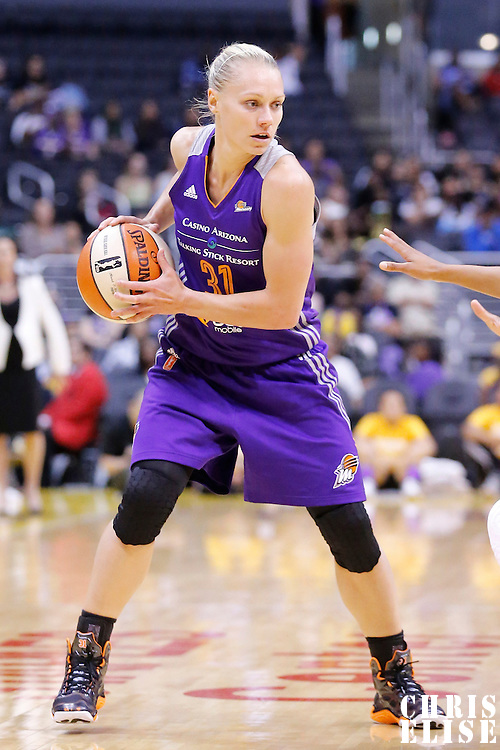 18 May 2014: Phoenix Mercury guard Erin Phillips (31) looks to pass the ball during the Phoenix Mercury 74-69 victory over the Los Angeles Sparks, at the Staples Center, Los Angeles, California, USA.