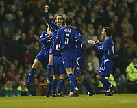 Photo: Aidan Ellis.<br /> Manchester United v Everton. The Barclays Premiership.<br /> 11/12/2005.<br /> Everton's James McFadden celebrates his goal