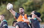 Picture by Allan McKenzie/SWpix.com - 10/11/2016 - Rugby League - 2016 Ladbrokes 4 Nations - New Zealand Kiwis Captains Run - Aspatria Rugby Club, Aspatria, England - Jesse Bromwich warms up with team mates. Copyright Image: SWPix / www.photosport.nz