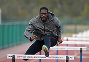 Andrew Riley hurdles during a workout in Kissimmee, Fla., Thursday, Jan. 25, 2018.