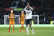 Derby County defender Fikayo Tomori (5) salutes the Derby fans after the final whistle during the EFL Sky Bet Championship match between Derby County and Hull City at the Pride Park, Derby, England on 9 February 2019.