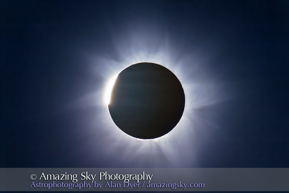 A two-image composite of the November 14, 2012 total solar eclipse from Lakeland Downs, Queensland, Australia. This shows the final C3 diamond ring layered with a single longer exposure of the corona taken during totality. <br /> <br /> Both with a Canon 60Da and Astro-Physics Traveler 106mm apo refractor at f/5.8. The diamond ring was 1/1000 second, and the corona 1/60 second. Blending with Photoshop.