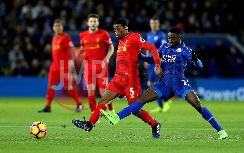 Georginio Wijnaldum of Liverpool is tackled by Wilfred Ndidi of Leicester City - Mandatory by-line: Robbie Stephenson/JMP - 27/02/2017 - FOOTBALL - King Power Stadium - Leicester, England - Leicester City v Liverpool - Premier League