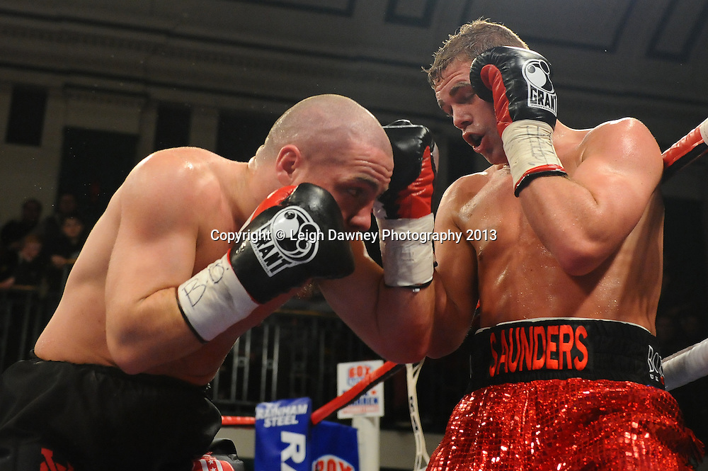 Billy Joe Saunders defeats Matthew Hall for the British & Commonwealth Middleweight Title at York Hall, Bethnal Green, London, UK on the 21st March 2013. Frank Warren Promotions. © Leigh Dawney Photography 2013.