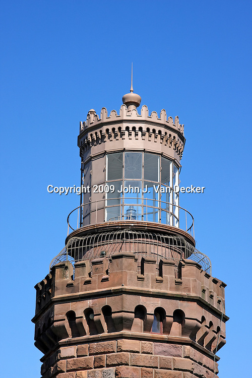 Closeup of the North Tower of the twin Lights of the Navesink Lighthouse, New Jersey, USA