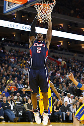 February 25, 2011; Oakland, CA, USA;  Atlanta Hawks shooting guard Joe Johnson (2) dunks against the Golden State Warriors during the first quarter at Oracle Arena. Atlanta defeated Golden State 95-79.