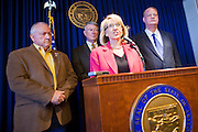 09 MAY 2011 - PHOENIX, AZ: RUSSELL PEARCE, President of the Arizona State Senate, Governor JAN BREWER and TOM HORNE, Attorney General of Arizona, during a press conference at the Arizona State Capitol in Phoenix Monday. Governor Jan Brewer, State Senate President Russell Pearce and Attorney General Tom Horne, all Republicans, held one press conference to announce that the state was suing to take its legal battle over SB1070, Arizona's tough anti-immigration law, past the US Court of Appeals and straight to the US Supreme Court. State Senator Steve Gallardo, a Democrat, held a press conference to announce that he was opposed to the Republican's legal actions and called on them to drop the suit altogether. Isolated shouting matches broke out between activists on both sides of the immigration issue during the press conferences.       Photo by Jack Kurtz