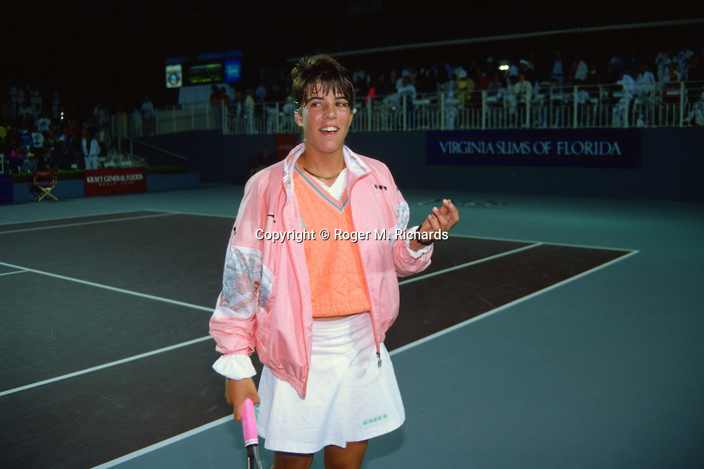 Jennifer Capriati during her professional debut at 13 years 11 months at the final of the Virginia Slims versus Gabriela Sabatini in March 1990.
