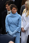 First Lady elect Melania Trump wearing a Ralph Lauren, powder-blue double-face cashmere dress during the President Inaugural Ceremony on Capitol Hill January 20, 2017 in Washington, DC. Donald Trump became the 45th President of the United States in the ceremony.