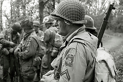 Members of the US 82nd Airborne/505th RCT living History Group in the woods close to Fort Paull <br /> <br />   03 May 2015<br />   Image &copy; Paul David Drabble <br />   www.pauldaviddrabble.co.uk