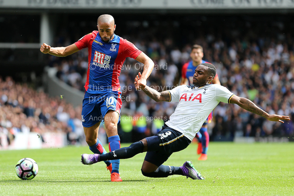 Danny Rose of Tottenham Hotspur intercepts Andros Townsend of Crystal Palace. Premier league match, Tottenham Hotspur v Crystal Palace at White Hart Lane in London on Saturday 20th August 2016.<br /> pic by John Patrick Fletcher, Andrew Orchard sports photography.