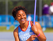 Delaware State junior Kristen Johnson enjoying a moment prior to the start of the Javelin Throw in the Women's Heptathlon at the 2011 MEAC Track and Field Championship held at North Carolina A&T in Greensboro, North Carolina.  (Photo by Mark W. Sutton)