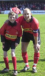 MASCOT AND MARTIN MATTHEWS,  KETTERING TOWN, Kettering Town v Newport, Rockingham Road 6th April 2002