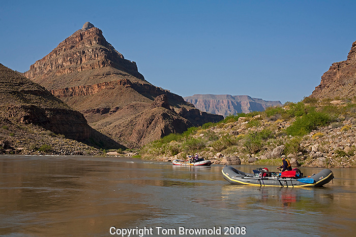 The last morning float on a grand canyon river trip brings to view Diamond Peak indicating that the trip is within the last mile or so of it's trip.