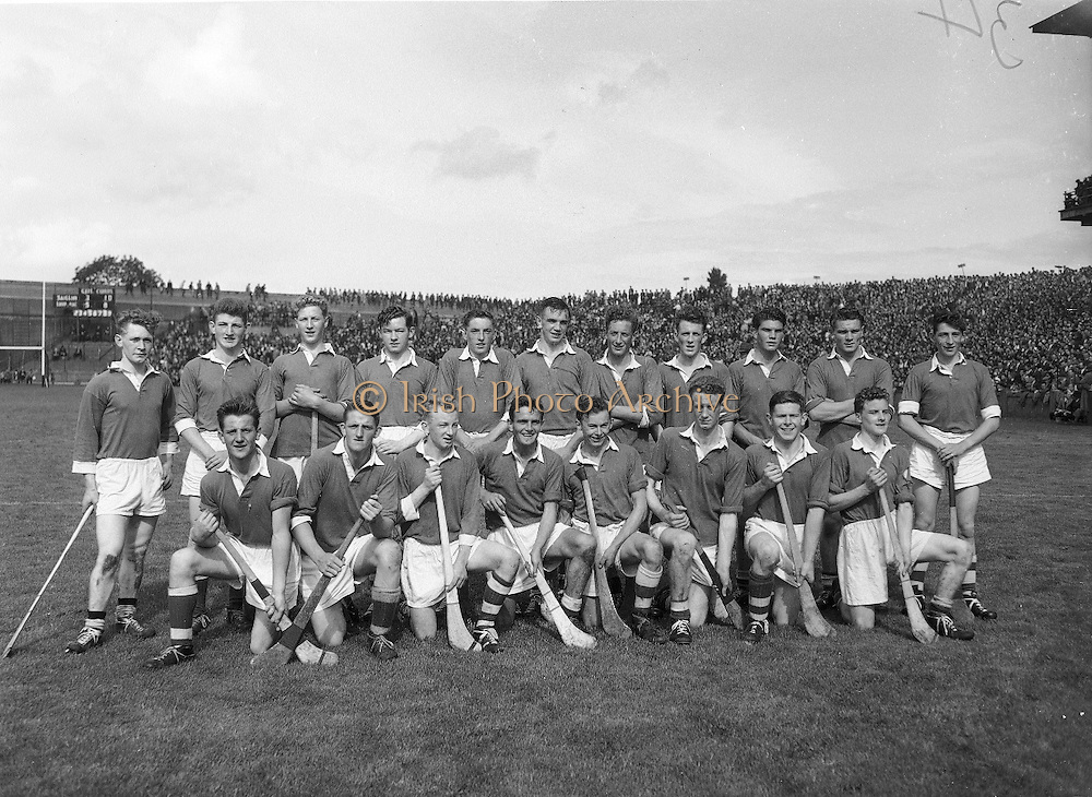 Neg No: .A801/4571-4583...1958AIMHCF..07.09.1958, 09.07.1958, 7th September 1958.All Ireland Minor Hurling Championship - Final...Limerick.05-08.Galway.03-10...Limerick. ..T. Hanley, J. McDonagh, J. Guinane, C. OConnell, J. J. Bresnihan, J. Leonard, M. Hanrahan, B. Kelleher, P. Hartnett, P. Cobbe (Captain), L. Canty, P. Murphy, E. Carey, J. Hayes, S. Sexton.Sub: D. Dillane for J. J. Bresnihan.P. Cobbe (Captain)..Check if Minor League