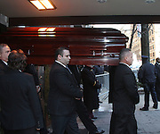Feb. 7, 2014 - New York, New York, U.S. - <br /> <br /> The casket for actor Philip Seymour Hoffman leaves the Frank E. Campbell Funeral Home on the Upper East Side. Hoffman died of a suspected heroin overdose on February 2.<br /> ©exclusivepix