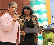 State Reps. Senfronia Thompson, left, and Alma Allen address the crowd at the Atherton Elementary School dedication on Friday.