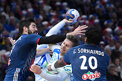 Bezjak Marko, Karabatic Nikola and Sorhaindo Cedric  during 25th IHF men's world championship 2017 match between France and Slovenia at Accord hotel Arena on january 24 2017 in Paris. France. PHOTO: CHRISTOPHE SAIDI / SIPA / Sportida