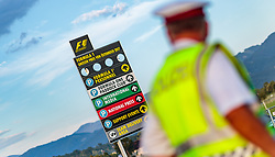 08.07.2017, Red Bull Ring, Spielberg, AUT, FIA, Formel 1, Grosser Preis von Österreich, Qualifying, im Bild Campingplatz, Polizist und Hinweisschild // Campsite Policeman and signpost After the Qualifying of the Austrian FIA Formula One Grand Prix at the Red Bull Ring in Spielberg, Austria on 2017/07/08. EXPA Pictures © 2017, PhotoCredit: EXPA/ JFK