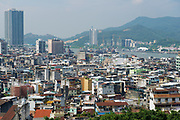 Macau, China - September 11, 2013: Urban skyline of the city seen from the Monte Forte in Macau, China.