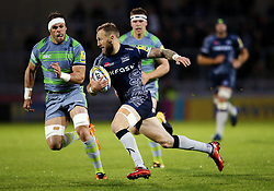 Byron McGuigan of Sale Sharks sprints forward - Mandatory by-line: Matt McNulty/JMP - 08/09/2017 - RUGBY - AJ Bell Stadium - Sale, England - Sale Sharks v Newcastle Falcons - Aviva Premiership