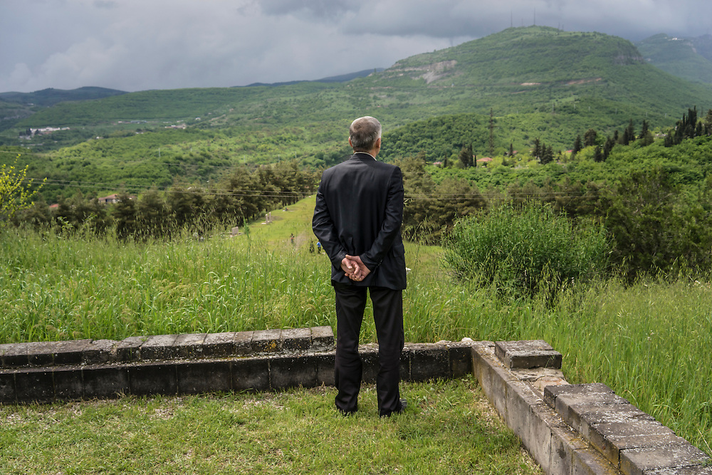 A man looks out at the mountains following a ceremony commemorating both the victory over Nazi Germany in the Second World War as well as the fall of the strategic town of Shushi to Armenian forces on Monday, May 9, 2016 in Stepanakert, Nagorno-Karabakh.