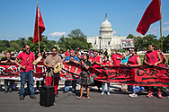 Nathan Phillips playing a drum at the Red Line Action in Washington DC the day before the Climate March.