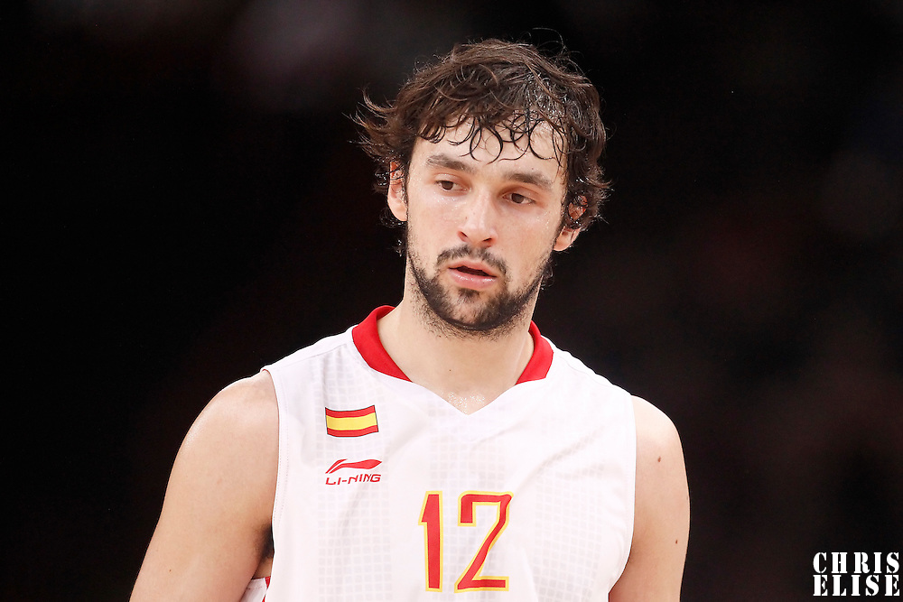 15 July 2012: Sergio Llull of Team Spain rests during a pre-Olympic exhibition game won 75-70 by Spain over France, at the Palais Omnisports de Paris Bercy, in Paris, France.